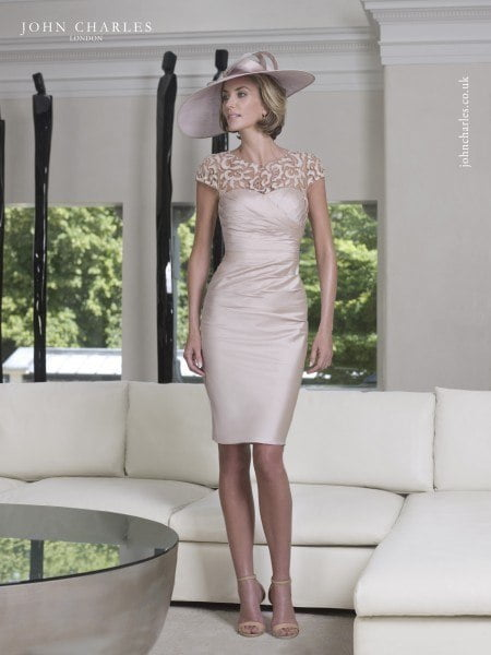 John Charles ruched dress with capped sleeves
